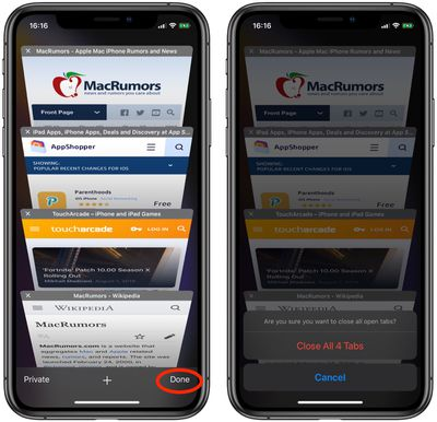 how to close ios safari tabs based on when you last viewed them