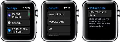 applewatchclearwebsitedata