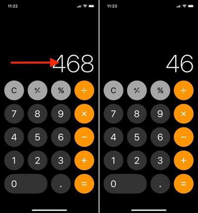 calculator delete to swipe