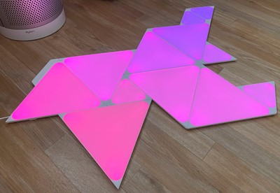 nanoleaf triangles pink purple