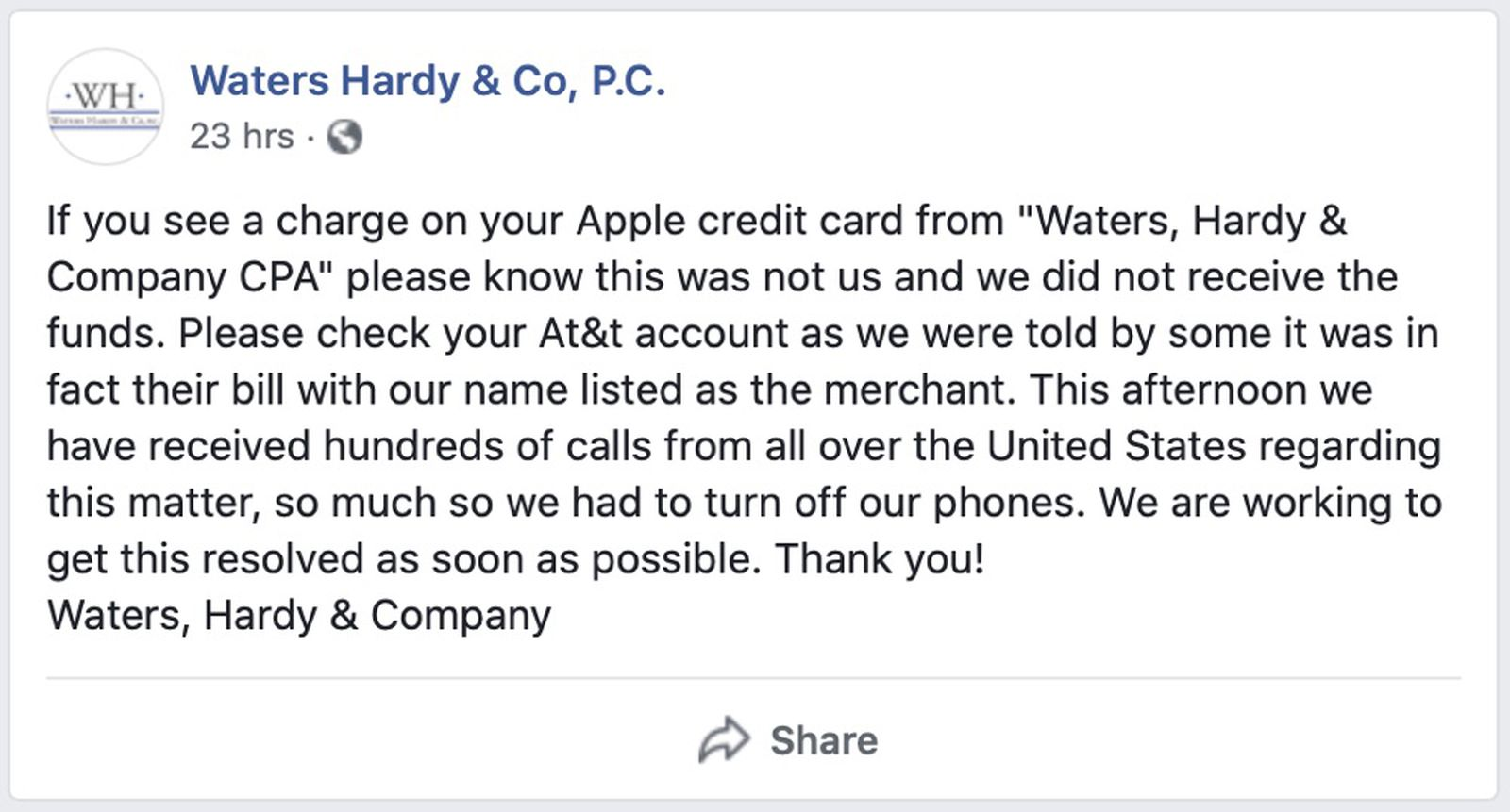 photo of Apple Card Mislabeling AT&T Charges as 'Waters, Hardy & Co' Leading to Customer Confusion image