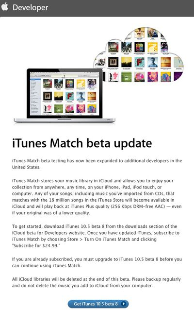 itunes match beta reopened