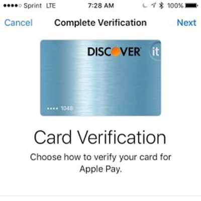 discover apple pay verify