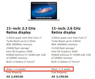 retina macbook pro ship 1 2 weeks jul21