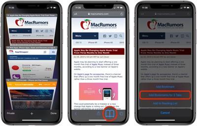 how to bookmark multiple tabs in safari ios