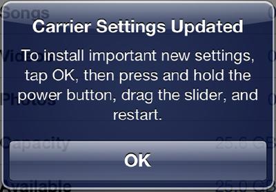 carrier settings screen