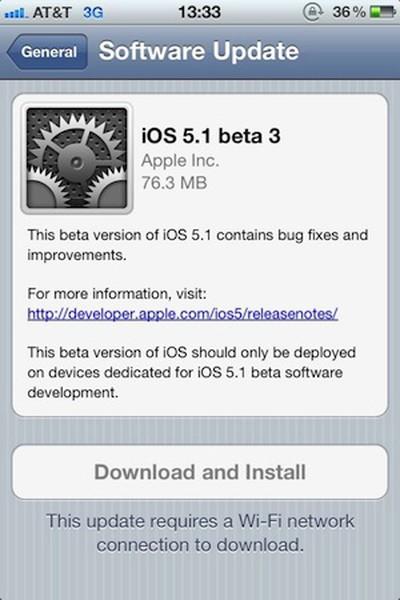 ios 5 1 beta 3 ota