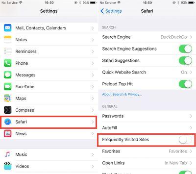 Visited Sites Safari iOS
