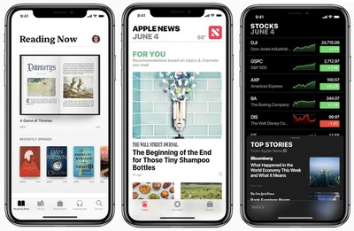 iOS 12 books news stocks
