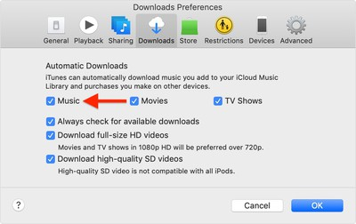 macos mojave itunes preferences apple music automatic downloads
