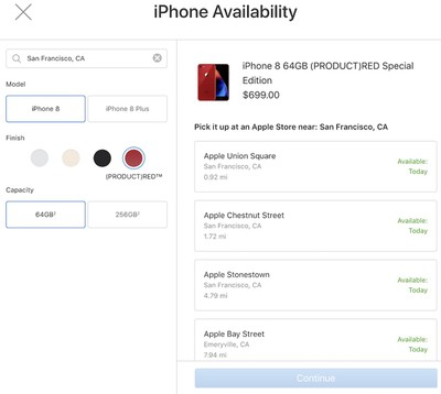 red iphone 8 availability