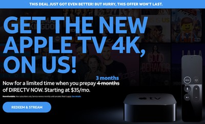 directv now apple tv 4k new deal