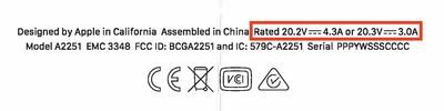 macbook pro 2020 87w rating