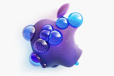 apple logo purple blue