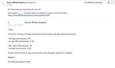 App affiliate commission change