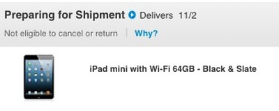 ipad mini preparing for shipment