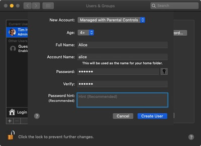how to create a user account with parental controls