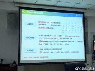 weibo iPhone XS presentation slide
