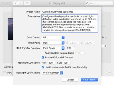 macos catalina system prefs display xdr presets customize preset