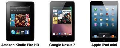 kindle fire hd nexus 7 ipad mini