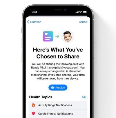 ios 15 health app sharing details