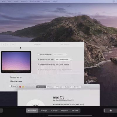 sidecar touch bar macos catalina