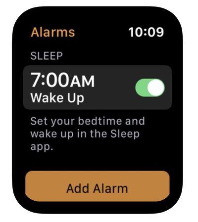 apple watch sleep app in alarms app