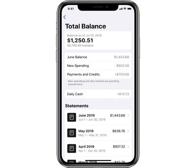 Total balance screen for Apple Card`