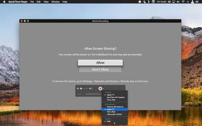 3 QuickTime Apple TV recording