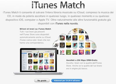 itunes match signup italy