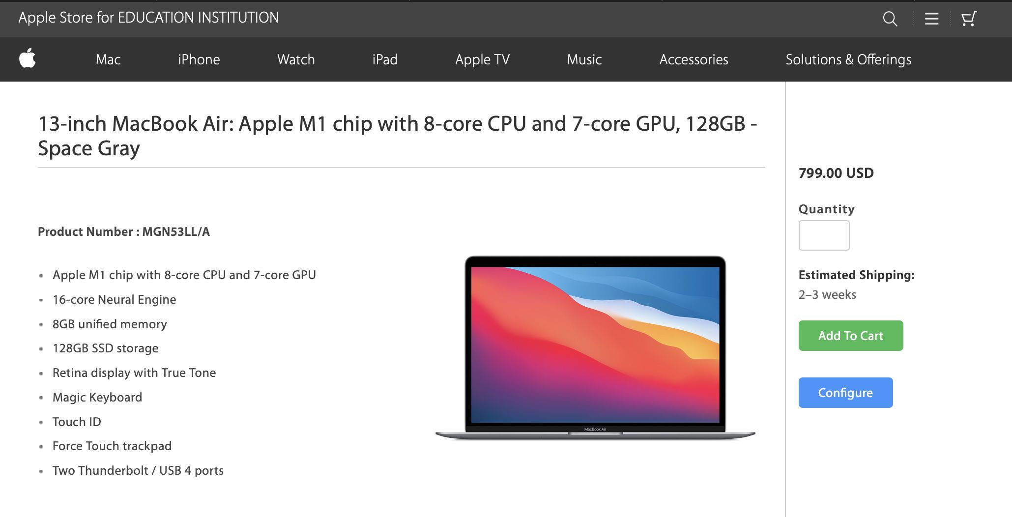photo of $799 M1 MacBook Air With 128GB Storage for Education Spotted Online image