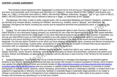 amazon podcast agreement excerpt