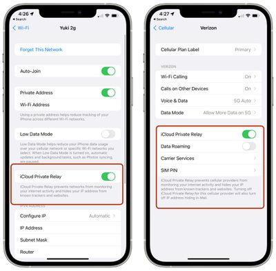 wifi cellular icloud private relay settings