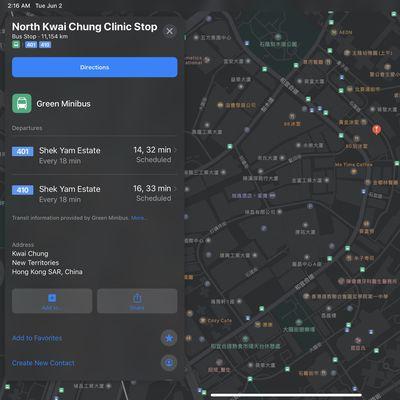 apple maps transit hong kong