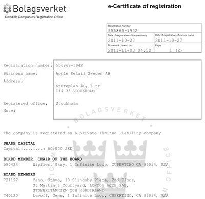 apple retail sweden registration