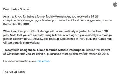 iCloud Storage Downgrade