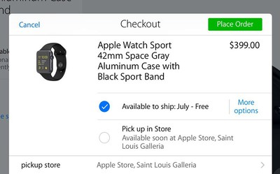 Pick up in store Apple Watch