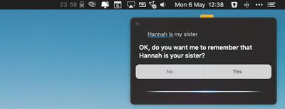 establishing relationships with contacts using siri macos