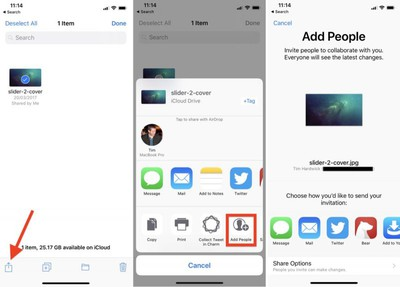 how to share icloud files ios