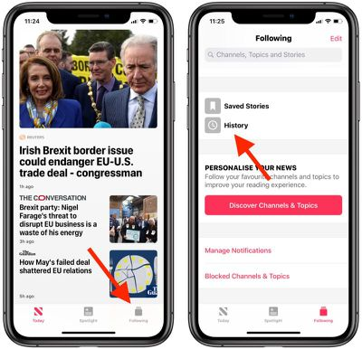 how to clear apple news history