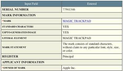 100047 apple magic trackpad