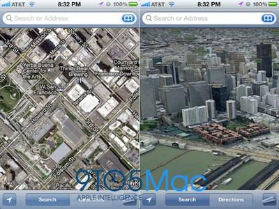 apple ios map 3d mockup