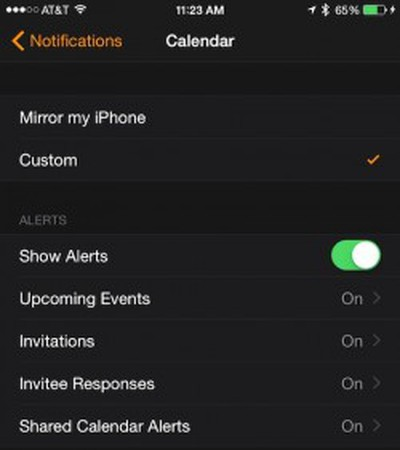 Calendar Notification Customization Apple Watch