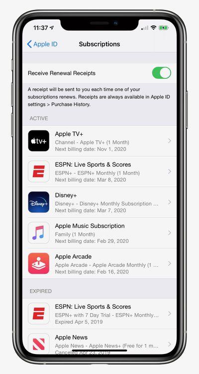 apple renewal emails