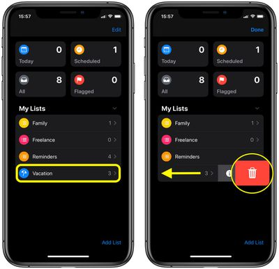 how to delete a reminders list ios