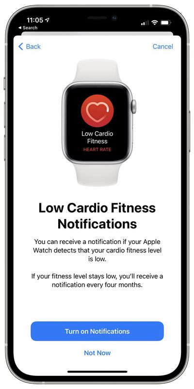 cardio fitnessl level notification