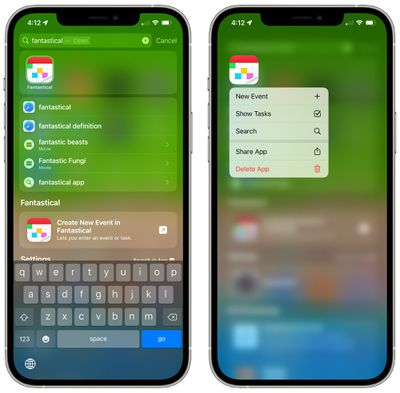 delete app spotlight ios 15