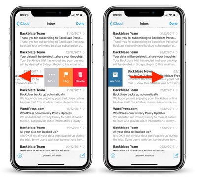 mail inbox swipe gestures iphone1