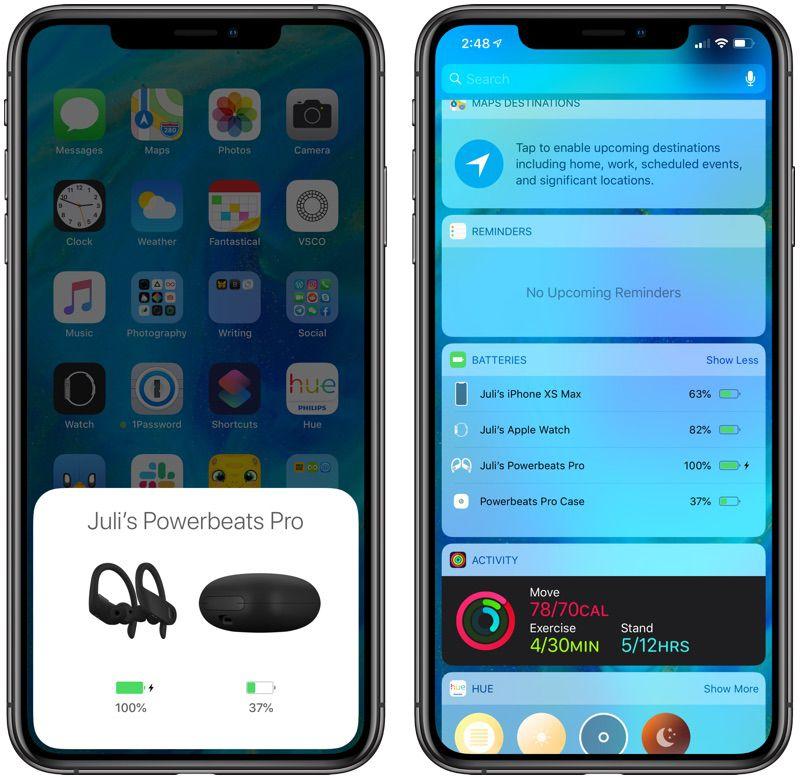 Powerbeats Pro battery status on iPhone