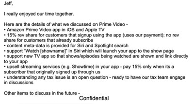 eddy cue bezos prime video email